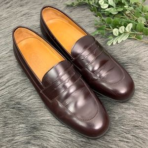 TOD'S Italy Burgundy Penny Leather Loafers Sz 7.5